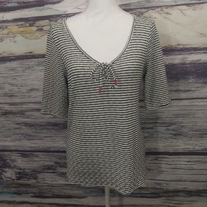 Lucky Brand  White and black striped shirt size L